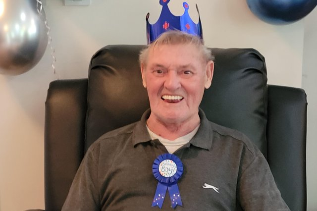 Resident Ian Way enjoys his 80th birthday at the Forest Care Home in Mansfield.