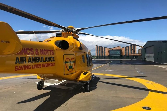 The LNAA helicopter parked outside its new headquarters