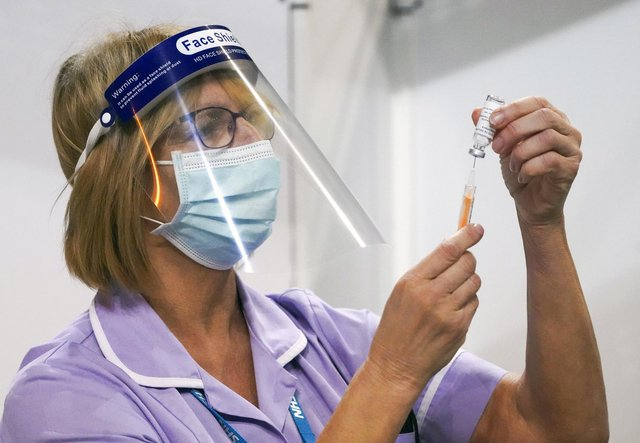 Julie Whitaker at the Covid 19 vaccination centre which has opened at Sheffield Arena. Picture: Scott Merrylees.