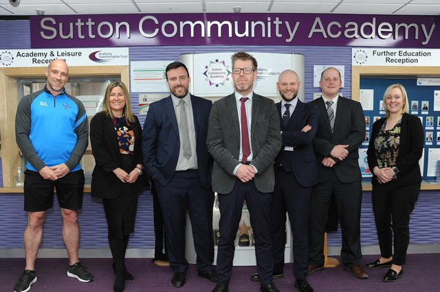 The new leadership team that is having a big impact at Sutton Community Academy, from left, Steve Lee (assistant principal), Stacey Anderson-Gilling (safeguarding lead), Richard Fegan (vice-principal), Patrick Butterell (principal), and George Coles, Lewis Taylor and Michelle Harwood (all assistant principals).