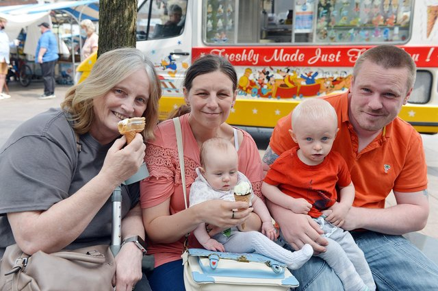 Pictured enjoying an ice cream in Mansfield town centre are Elaine, Ann, Katie, Peter and Matt Totty.