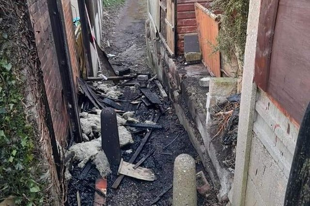 The badly damaged fence off Scarcliffe Street in Mansfield.