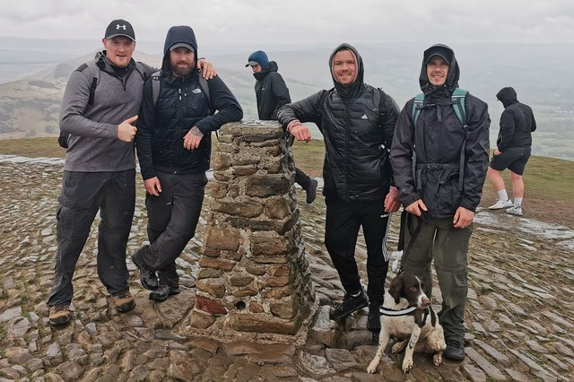 Jamie Lynch (second left) and mates (from left) Ross Johnson, Craig Page and Richard Sims, who are all to walk 40 miles in one day to raise money for the Forever Stars charity.