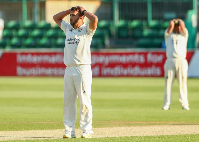 Dane Paterson reacts during the LV= Insurance County Championship match between Essex and Nottinghamshire. (Photo by Jacques Feeney/Getty Images)