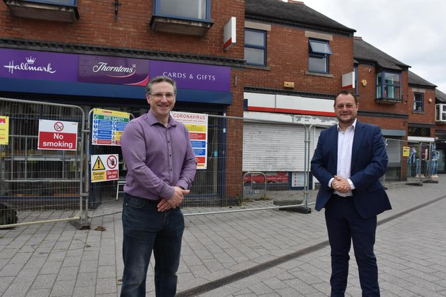 Coun Matthew Relf and Coun Jason Zadrozny in Kirkby town centre.