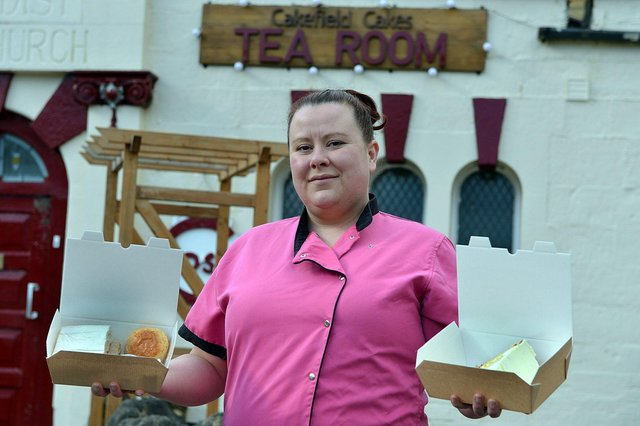 Gemma Lennane from Cakefield-Cakes Tea Room delivering afternoon tea.