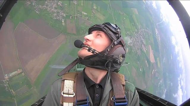 Jason Fradgley in the Spitfire
