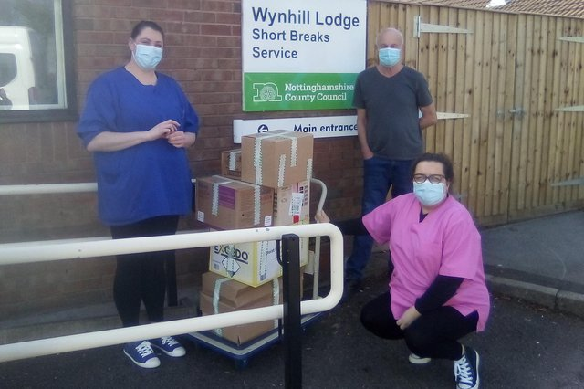 Staff at Wynhill Lodge in Bingham with more PPE items, ready for delivery.