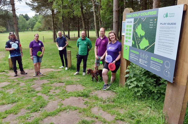 Pictured, from left, William B. Woodward from Nottinghamshire Disc Golf Club, Rachel Malley-Smith, of Disc Golf UK, Ashley Booker, Ryan Laviolette, manager at Sherwood Pines, Richard Hatton, owner of Disc Golf UK and Zoe Winfield, chair Nottinghamshire Disc Golf Club.